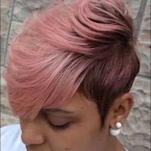 Short Pixie Cut Pink w/ Black Base Wig